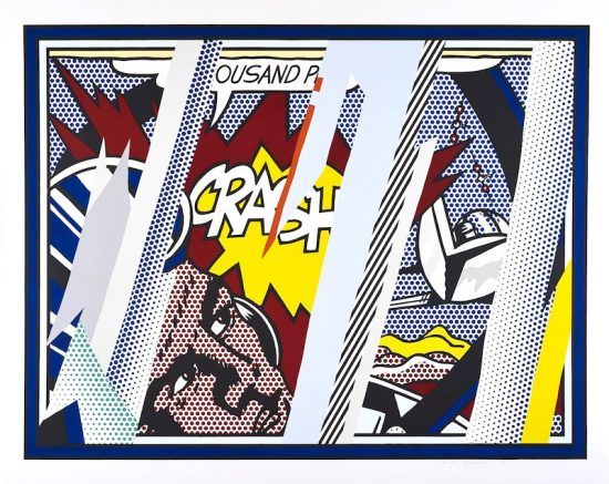 Roy Lichtenstein Lithograph, Reflections on Crash, from the Reflections Series, 1990