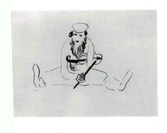 Bearded man seated with violin under his arm