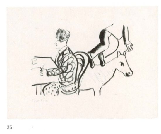At table, seated man and animal