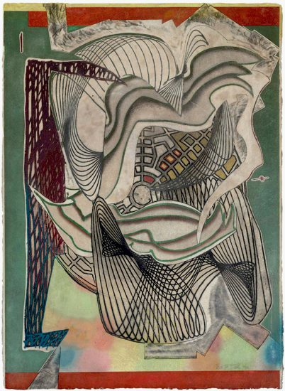 Frank Stella Etching, The funeral (dome), from the Moby Dick domes, 1992