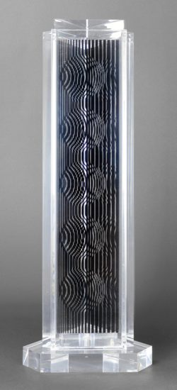 Victor Vasarely Sculpture, Holld (Moiré Tower), 1989
