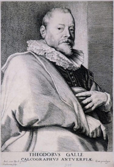 Anthony van Dyck Engraving, Theodorus Galle (Théodore Galle), c. 1641