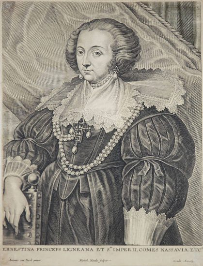 Anthony van Dyck Engraving, Ernestine, Princess de Ligne, c. 1645
