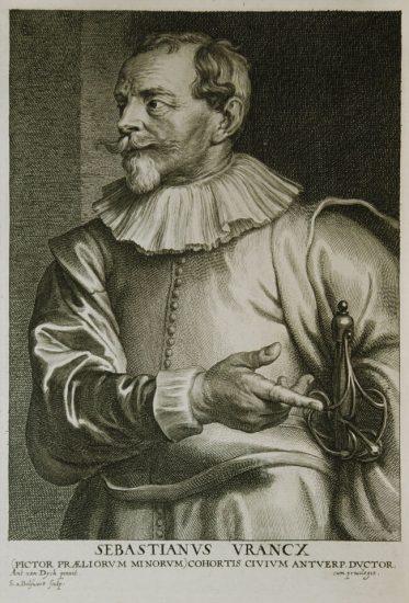 Anthony van Dyck Engraving, Sebastianus Vrancx (Sébastien Vrancx), c. 1645