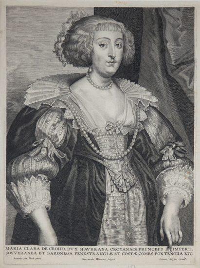 Anthony van Dyck Engraving, Maria Clara de Croiio (Marie-Claire de Croy), c. 1645