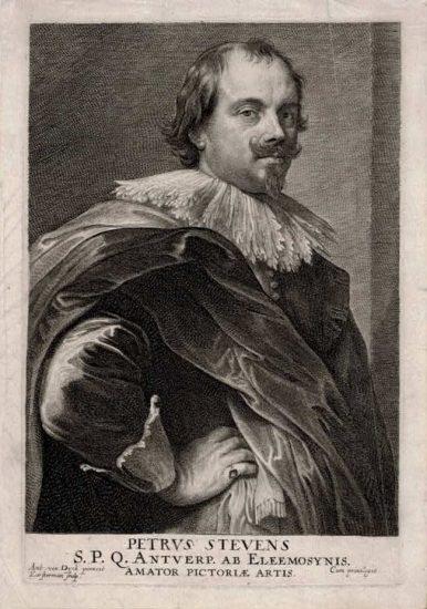 Anthony van Dyck Engraving, Petrus Stevens (Pierre Stevens), c. 1645