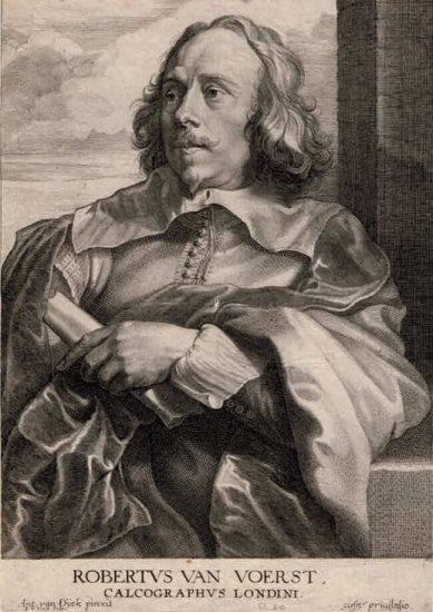 Anthony van Dyck Engraving, Robertus Van Voerst (Robert Van Voerst), c. 1675