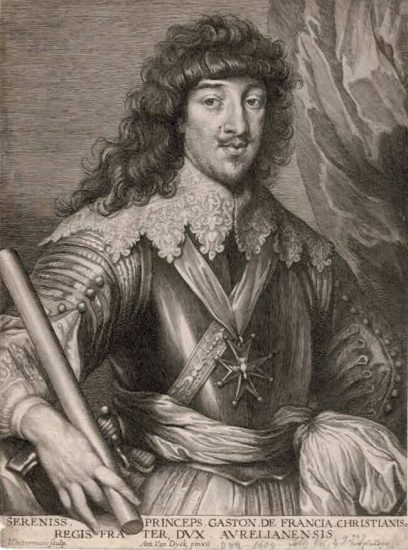 Anthony van Dyck Engraving, Gaston de France, Duke of Orléans, c. 1675