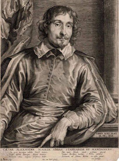Anthony van Dyck Engraving, Cesar Alexander Scaglia (César-Alexandre Scaglia), c. 1654