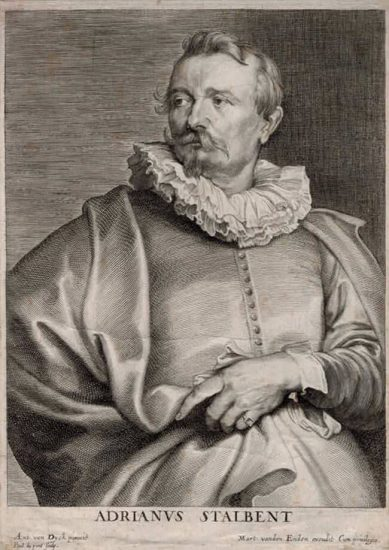 Anthony van Dyck Lithograph, Adrianus Stalbent (Adrien Van Stalbemt), c. 1641