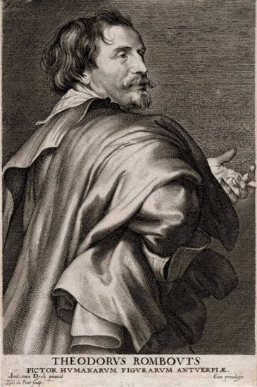 Anthony van Dyck Engraving, Theodorus Rombouts (Théodore Rombouts), early 1700s