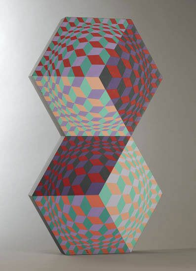 Victor Vasarely Sculpture, Kettes, 1984