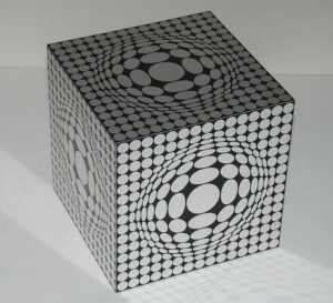Victor Vasarely Sculpture, Cube, c. 1970