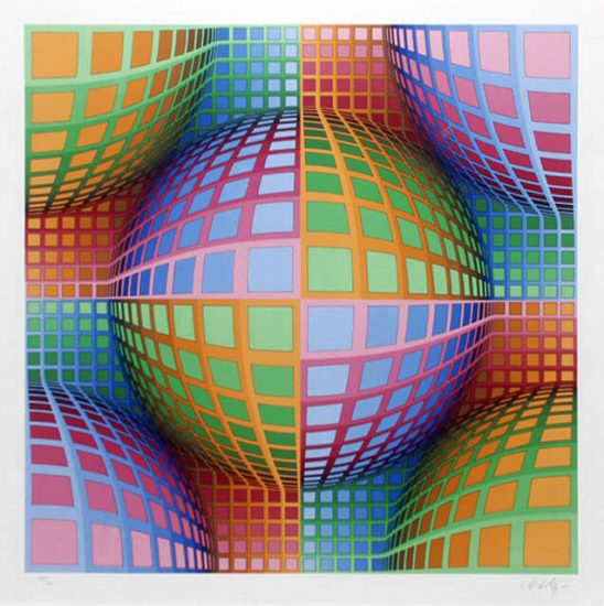 Victor Vasarely Serigraph, Untitled, 1990