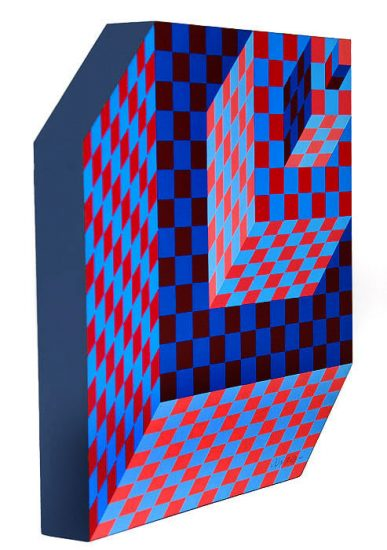 Victor Vasarely Sculpture, Felhoe, 1989
