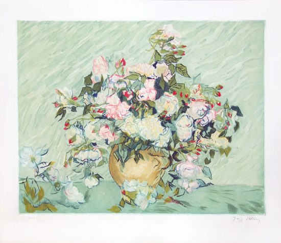Vincent van Gogh Lithograph, Jacques Villon Vase with Pink Roses, 1927, after Van Gogh