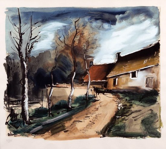 Maurice de Vlaminck Artwork, Le Hameau Pres de Verneuil (The Hamlet near Verneuil) , c. 1950
