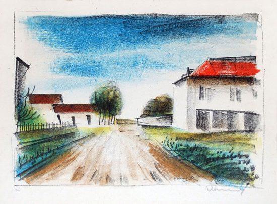 Maurice de Vlaminck Lithograph, Entrée de Village II (La Route de Francheville), 1924