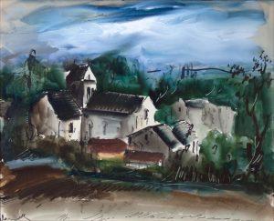 Maurice de Vlaminck Watercolor, Maurice de Vlaminck Village