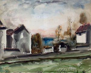 Maurice de Vlaminck Watercolor, Maurice de Vlaminck Maisons au bord de la route (Houses Along the Road)