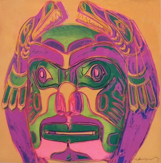 Andy Warhol Screen Print, Northwest Coast Mask from the Cowboys and Indians Series, 1986