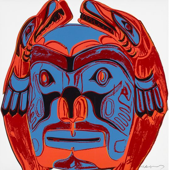 Andy Warhol Lithograph, Northwest Coast Mask from the Cowboys and Indians Series, 1986