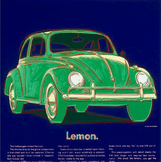 Andy Warhol Lithograph, Volkswagen from Ads Series, 1985