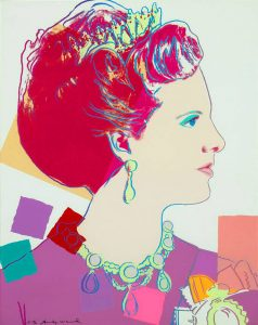 Andy Warhol Screen Print, Queen Margrethe II of Denmark (White) from the Reigning Queens Royal Edition with Diamond Dust of 1985