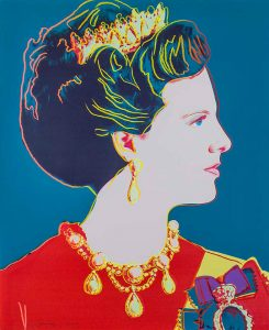 Andy Warhol Screen Print, Queen Margrethe II of Denmark (Teal) from the Reigning Queens of 1985