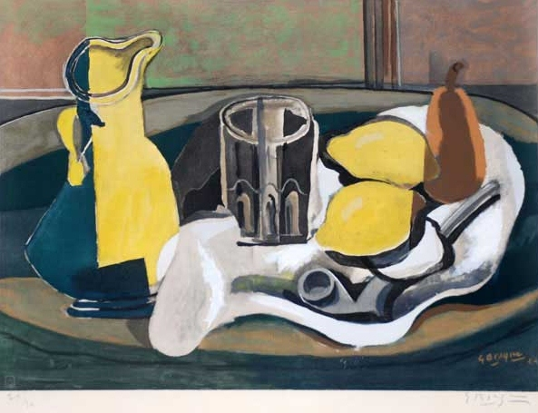 Still Life With Lemons and Pipe, 1924 Lithograph