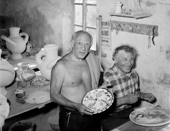 Pablo Picasso and Marc Chagall making ceramics together