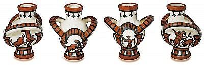 Picasso ceramic pitcher large corrida bird AR 191 ceramic with orange coloring