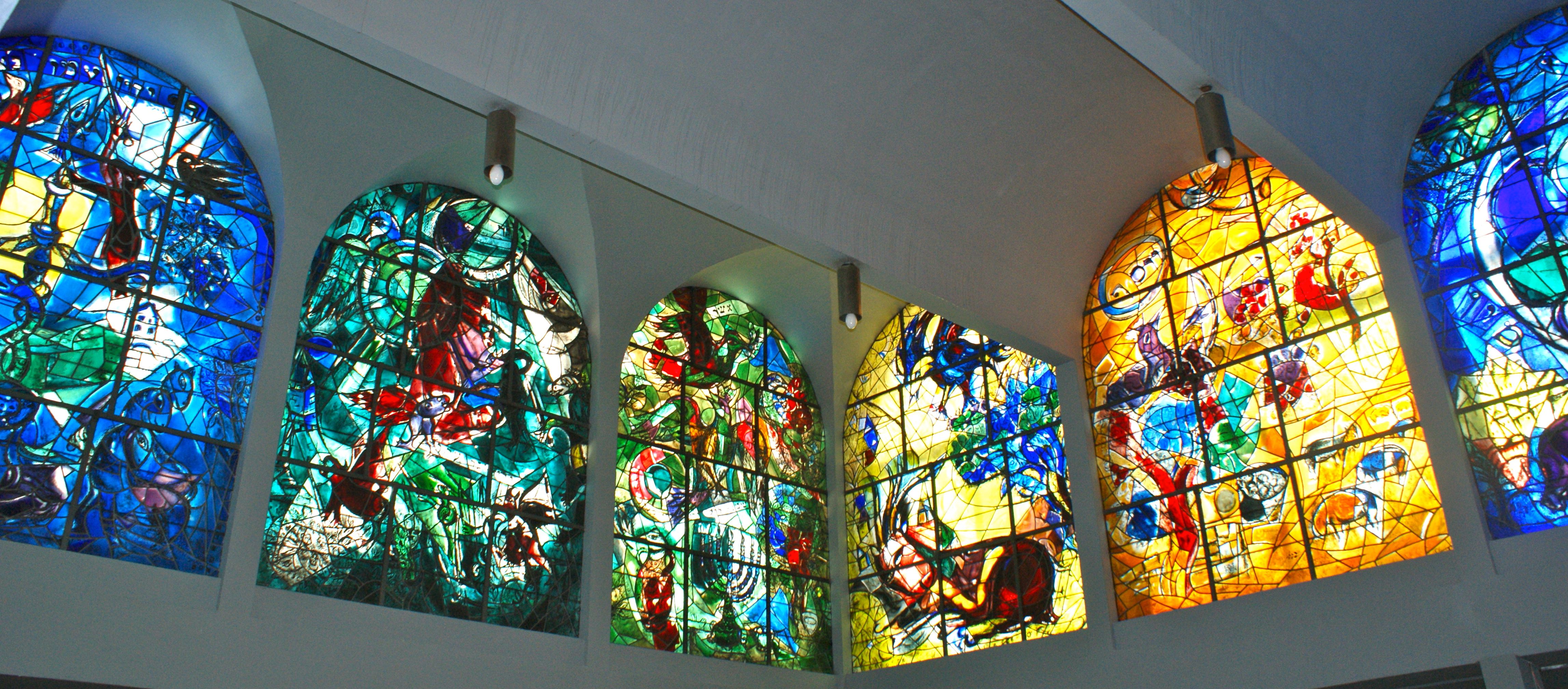 Marc Chagall's 12 Jerusalem windows in full display tell the story of the 12 tribes of Israel