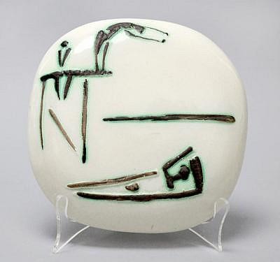 Pablo Picasso Ceramic Plaque Divers 1956