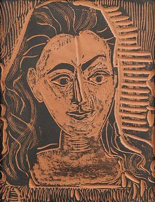 pablo picasso ceramic plaque Petit Buste de Femme (Little Bust of Woman), 1964