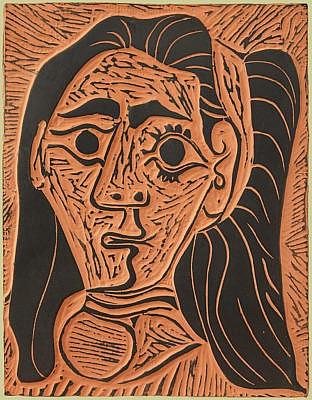 pablo picasso ceramic plaque Femme au Cheveux Flous (Fluffy-haired Woman), 1964