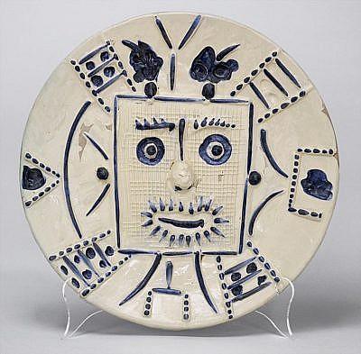 Pablo Picasso Ceramic Plates Visage dans un carré (Face in a Square), 1956