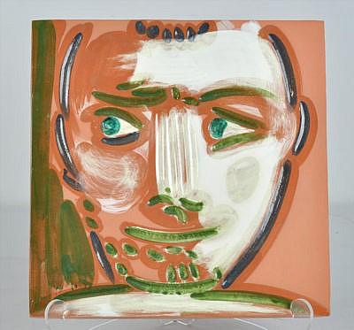 pablo picasso ceramic plaque Tête d'homme (Man's Head), 1968-1969