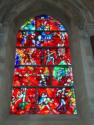 Marc Chagall's stained glass windows in Chichester Cathedral, England