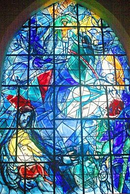 Marc Chagall's stained glass windows for One of the windows memorializing Rockefeller family members
