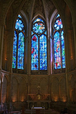 Marc Chagall's stained glass windows in Reims Cathedral