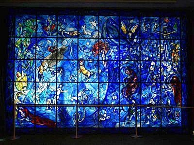 Marc Chagall's stained glass windows in The Peace Window at the UN Headquarters in New York City