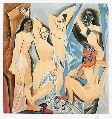 Pablo Picasso Color Lithograph Les Demoiselles d'Avignon (The Young Ladies of Avignon), 1955 for Sale by Masterworks Fine Art Gallery