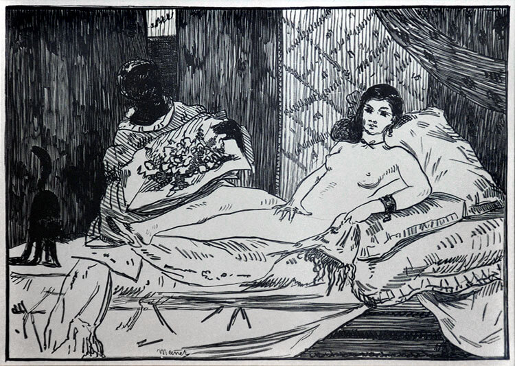 Manet wood engraving Olympia for Sale by Masterworks FIne Art