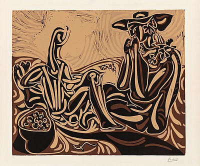 Pablo Picasso Linocut Les vendangeurs (The Grape Harvesters), 1959 for Sale by Masterworks Fine Art Gallery