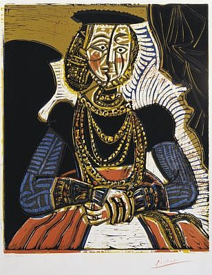 Pablo Picasso Linocut Portrait of a Woman after Cranach the Younger 1958 for Sale by Masterworks Fine Art Gallery